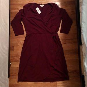 NWT LOFT Maroon Wrap Dress